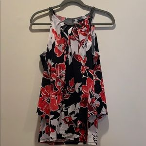 WHBM size M black, red & white floral top